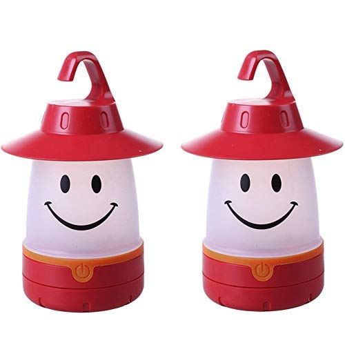 hothuimin 2 Pack Smiley Face Portable LED Lantern Tent Light Kids Emergency Lights for Camping Hiking Fishing (red)