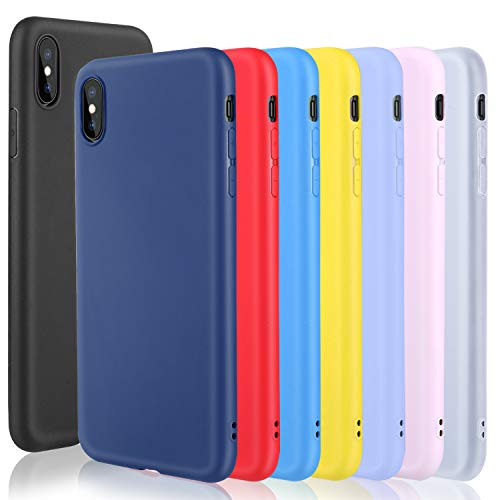 - Pofesun Soft TPU Gel Case Designed for iPhone XS Max, 8 Pack Ultra Thin Protective Phone Cover Compatible with iPhone XS Max 6.5 inch (2018) (Black, Clear, Blue, Pink, Purple, Yellow, Red, Royal Blue)