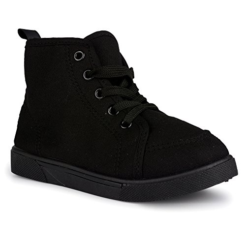 [SCN502-BLK-T8] ShoeShox High-Top Sneakers, Unisex Kids, Babies & Toddlers, Canvas, Lace-Up (Lace Toddler Shoe)
