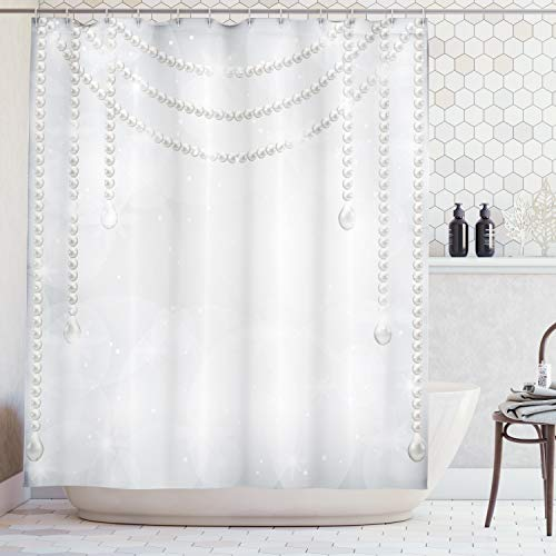 (Pearls Decor Shower Curtain by Ambesonne, Decorative Diamonds Stones and Pearls Hanging Necklace Bridal Decor Image Artwork, Polyester Fabric Bathroom Set with Hooks, 75 Inches Long, Grey and)
