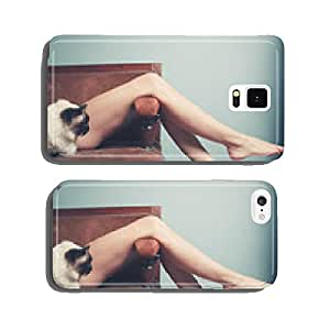 Young woman with cat relaxing on sofa cell phone cover case iPhone6