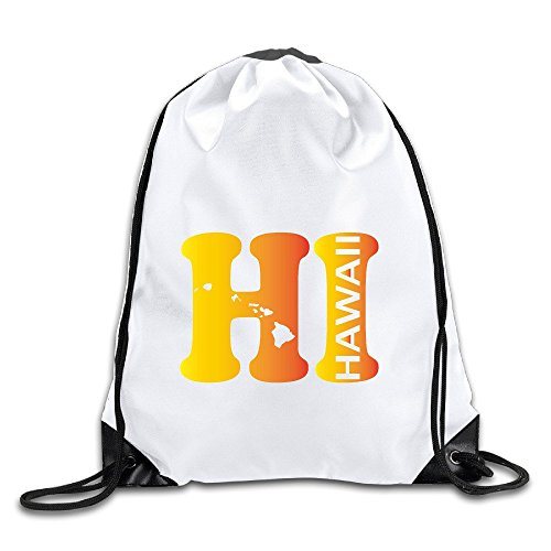 (Hi Hawaii State Map Drawstring Backpack Bag Gym Sack )
