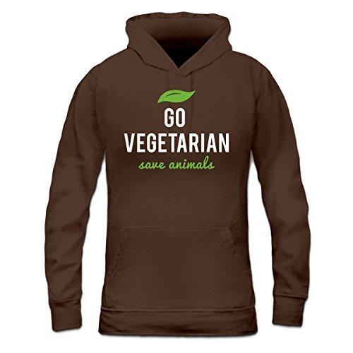Sudadera con capucha de mujer Go Vegetarian Save Animals by Shirtcity Marrón