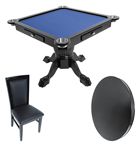 BBO Poker Levity Game and Poker Table for 4 Players with Blue Felt Playing Surface, 43-Inch Square, Includes Matching Dining Top with 4 Dining Chairs by BBO Poker