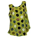 Franterd Plus Size Blouse Women's Summer Sleeveless Sexy Tunic Tops Casual Dot Print Cotton and Linen Style T Shirt