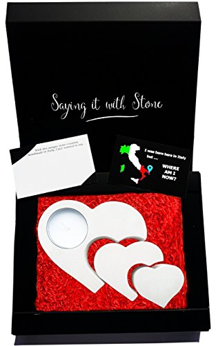 3 Hearts 3 Generations Stone Tealight Candle Holder Christmas Gift - Box, Candle & Blank Message Card All Incl - Handmade in Italy - Mom Dad Son Daughter Grandma Grandpa Granddaughter Grandson Newborn