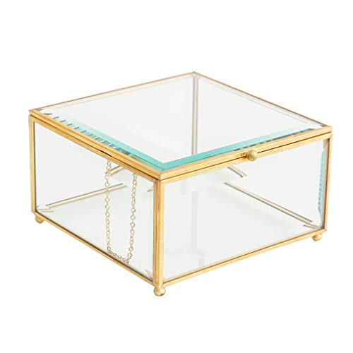 (Vintage Golden Glass Keepsake Box Jewelry Holder Desktop Organizer, Decorative Accent, Vanity, Wedding Bridal Party Gift, Candy Table Décor Jars & Square Glass Boxes, Beveled Glass, Gold, 6