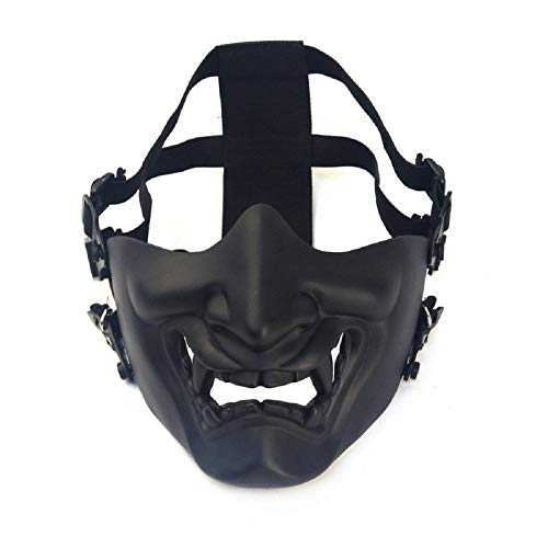 fridaylead Japanese Airsoft Protective Half Face Mask Outdoor Game Mask Tactical Prajna Half Face Hannya Oni Motorcycle Evil Demon Knight Kabuki Mask