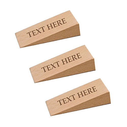 Hold The Door Personalized Wooden Nonslip Door Stopper - Customized Pack of 3 - Add Text