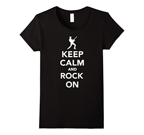 Womens Keep calm and rock on T-Shirt Medium Black