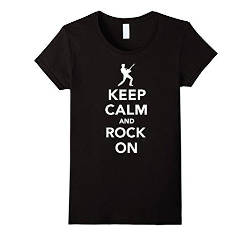 Womens Keep calm and rock on T-Shirt Medium Black
