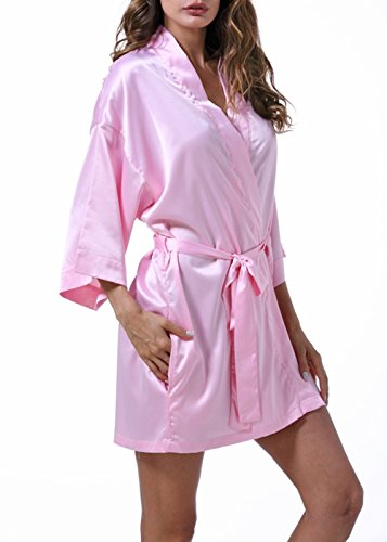 Pink Kimono Set - LingerLove Satin Kimono Sexy Vintage Robes for Women Lingerie Chemise Set Short Sexy Sheer Sleepwear (Pink, One Size)