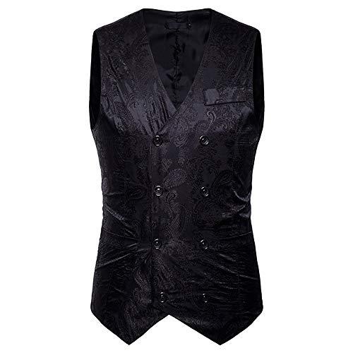 MODOQO Mens Suit Vest Double Breasted Slim Fit Retro Tuxedo ...