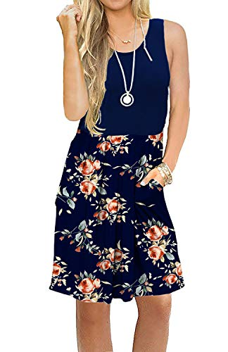 AUSELILY Women's Sleeveless Pleated Loose Swing Casual Dress