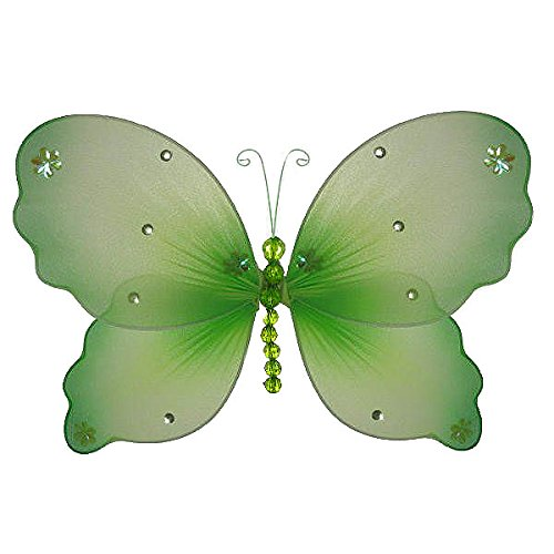 The Butterfly Grove Emily Butterfly Decoration 3D Hanging Mesh Organza Nylon Decor, Green Medium 11