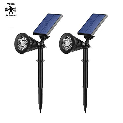 iAVO Solar Powered LED Motion Activated Spotlight, Outdoor Waterproof Landscape Light, Auto ON/Off, Max 300LM, with Bright/Dim Mode - Perfect for Walkway, Yard and Driveway [Pack of 2]