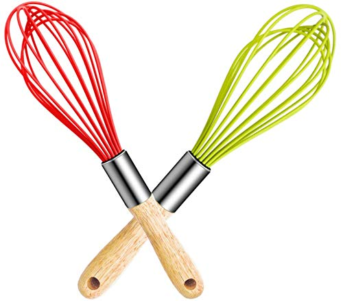 MarMmy 2 Pack Kitchen Silicone Wires Balloon Whisk with Oak Wood Handle Stainless Steel for Baking Cooking Bread Egg Beating Whisking Tools Utensils Gadgets