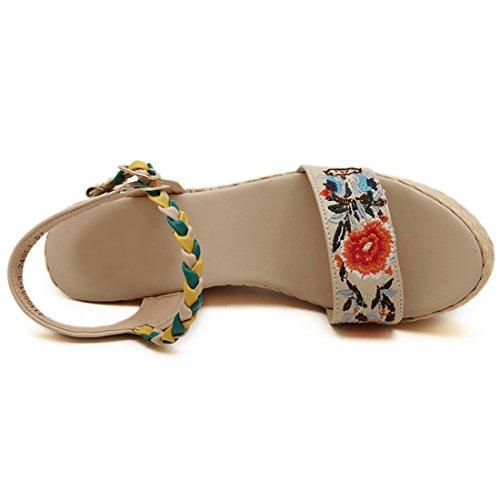 QIYUN.Z Frauen Böhmen Blumenmuster Sommer Geöffnete Zehe Retro Sandalen Keilabsatz Schuhe Aprikose