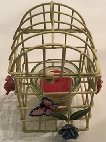 - Retro Green Wire Birdcage, Butterfly Bouquet Style Votive Holder & Cup & Candle