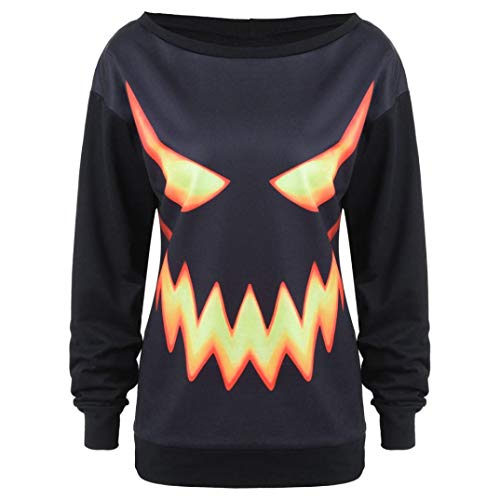 Women Black Halloween Pumpkin Face Printed Jumper Pullover Tops Sweatshirt by Limsea