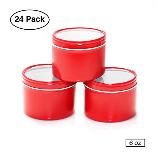 (Mimi Pack 6 oz Round Deep Window Steel Metal Tin Container Can Slip Top Lid For Salves, Favors, Spices, Balms, Candles, Gifts Limited Run Series 24 Pack (Red))