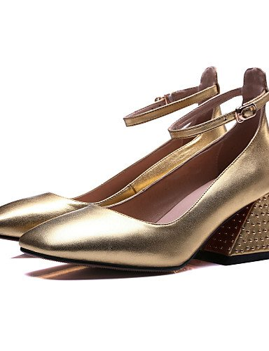 GGX/ Damen-High Heels-Kleid / Lässig / Party & Festivität-Leder-Blockabsatz-Absätze / Quadratische Zehe-Schwarz / Gold black-us5 / eu35 / uk3 / cn34