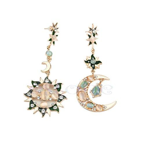 - UJuly Fashion Pretty Exquisite Star Sun Moon Asymmetrical Rhinestone Crystal Dangle Earrings Stud