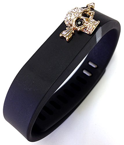1pc Small Black Band with Jewelry Crystals Skull Decor for Fitbit Flex & Metal Clasp Only /No tracker/ Wireless Activity Bracelet Sport Wristband Fit Bit Flex Bracelet Sport Arm Band Armband