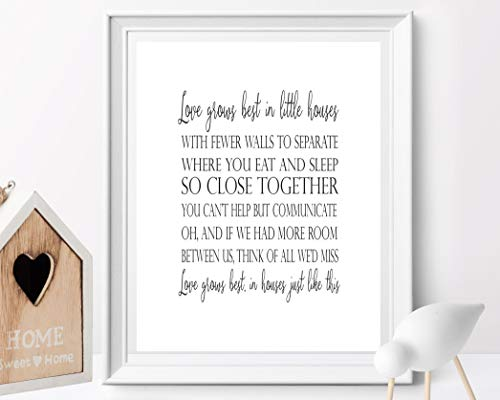 Arvier Love Grows Best in Little Houses Like This Love Sign Wedding Sign Wedding Decor Lyrics Printable Housewarming Family Sign Home Decor (Love Grows Best In Little Houses Printable)