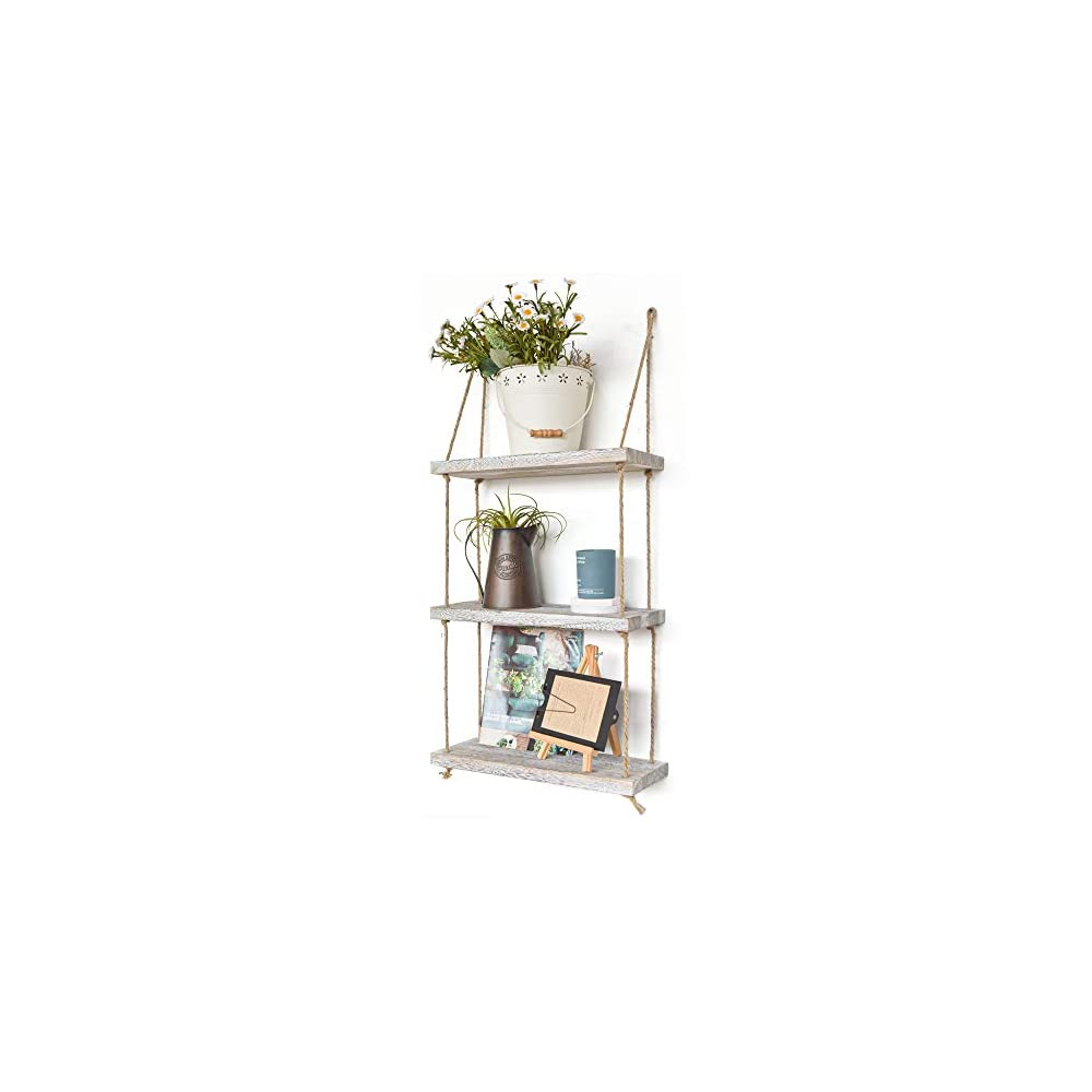 Labcosi 3 Tier Rope Farmhouse Wall Hanging Floating Shelves, Rustic White Wall Shelf, Swing Wood Decor Living Room…