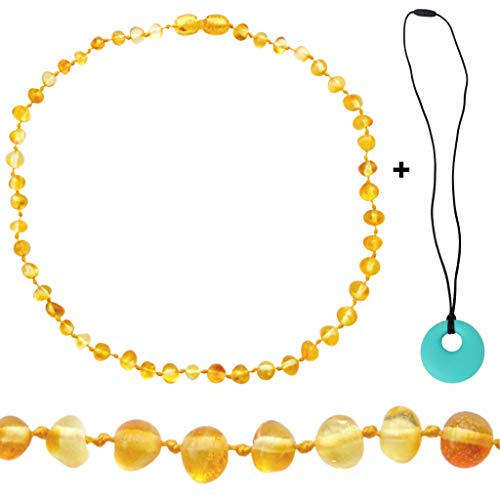 Mama's Natural Remedies Amber Necklace – Authentic Baltic Amber Necklace for Boy or Girl (Unisex) – Polished Honey -Pop Clasp – Turquoise Silicone Necklace for Mom – Gift Set