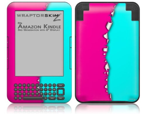 Ripped Colors Hot Pink Neon Teal - Decal Style Skin fits Amazon Kindle 3 Keyboard (with 6 inch display)
