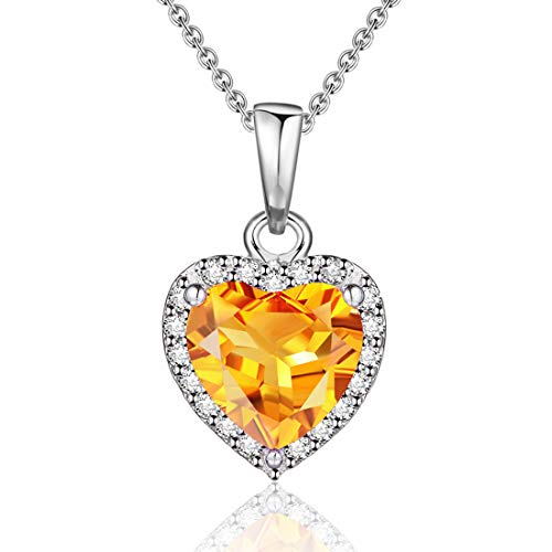 EL UNO Sterling Silver November Birthstone Natural Citrine Love Heart Gemstone Pendant Necklace Women