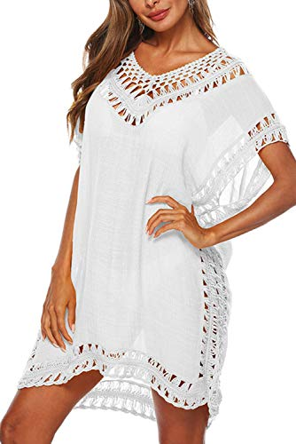 Adisputent Bathing Suit Cover Ups for Women Mesh Beach Cover Ups Crochet Chiffon Tassel Bikini Wear Swimsuit Coverups Dress (White)