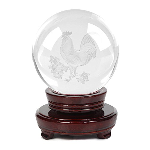 Ornerx 3D Rooster Laser Engraved Crystal Ball with Stand 3