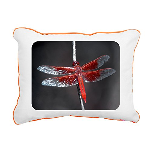 - Rectangular Canvas Throw Pillow Orange Red Flame Dragonfly