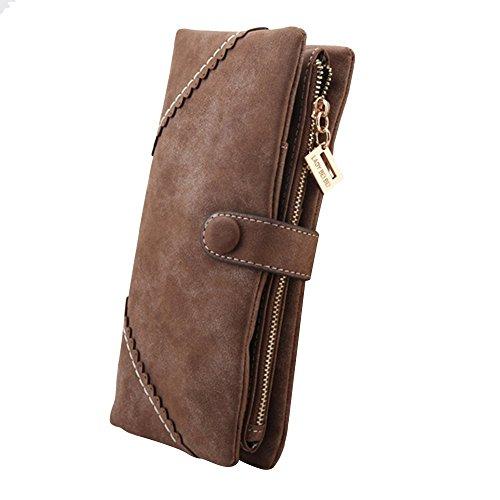 Cozyswan Mode Leder Geldbörse Geldbörse mit Knopf Dame Long Damenhandtasche - Coffee Braun