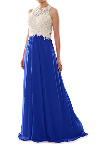 MACloth Women High Neck Lace Chiffon Long Prom Dress Formal Party Ball Gown Azul Real