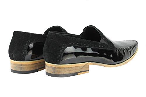 HI noir brillant brevet en cuir véritable Bordure en daim Smart Casual à enfiler Flâneur Chaussures