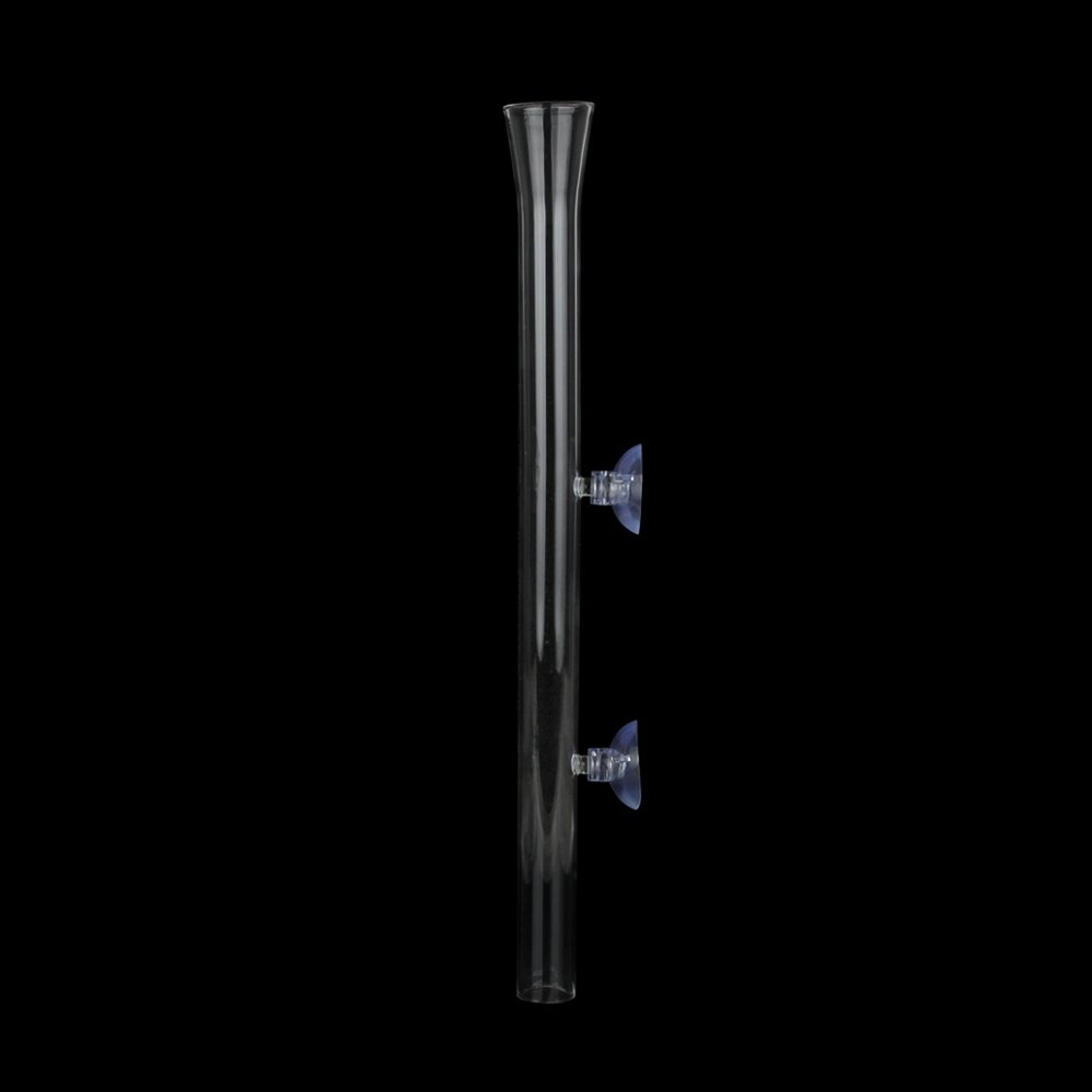 Senzeal Aquarium Clear Glass Feeder Tube for Fish Tank Shrimp Feeding with 2pcs Suction Cups 300mm/11.81'' Length