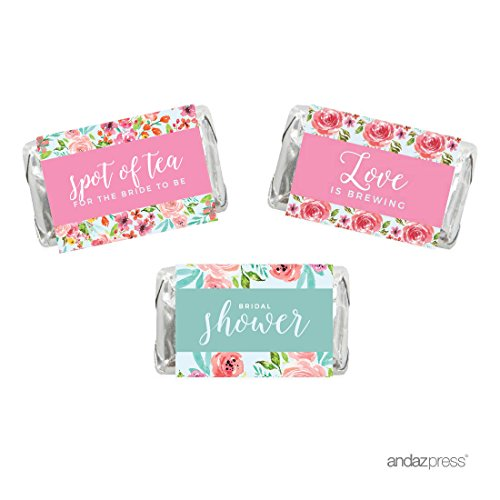 Andaz Press Pink Roses English Tea Party Tea Party Wedding Collection, Chocolate Minis Labels, Fits Hershey's Miniatures Party Favors, 36-pack