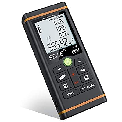 ESYWEN Digital Distance Meter 196ft Tape Measure with Large LCD Backlight Display and Pythagorean Mode, Measure Distance/Area/Volume