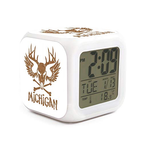 UYOYORRL Michigan State Skull Travel Alarm Clock Alarm Clock for Kids 7 Colors Changing Light Sunrise Alarm Clock