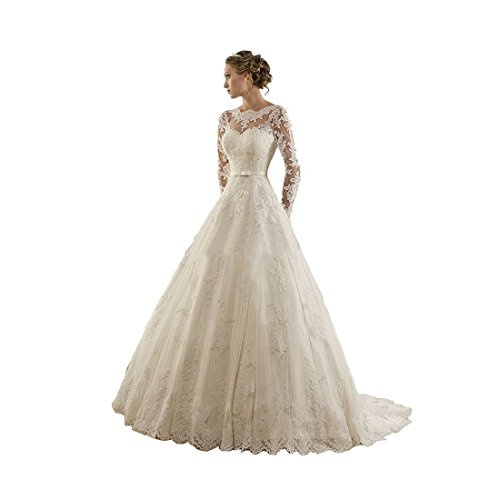 Sunweddingdress Womens Jewel Lace Applique Long Sleeve Chapel Wedding Dress