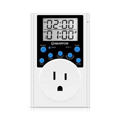Grow Light Timer (Timer Outlet, Nearpow Multifunctional Infinite Cycle Programmable Plug-in Digital Timer Switch With 3-prong Outlet for Appliances, Energy-saving Timer, 15A/1800W)