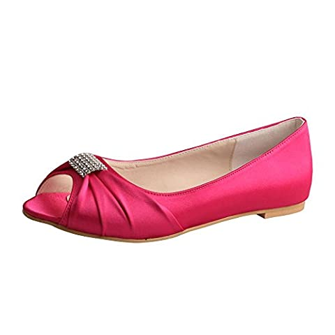 Wedopus MW1361 Rhinestones Wedding Peep Toe Women Ballet Flats Buckle Satin Bridal Shoes (12, Fuchsia)