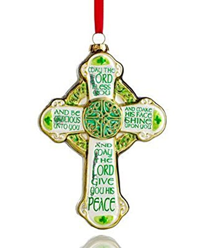 Holiday Lane Beautiful Distressed Green & Gold Irish Celtic Cross 5-inch Glass Ornament St Patrick's Day Ornament Decoration