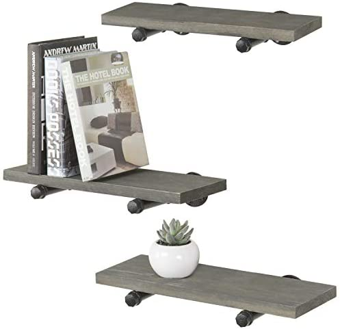 MyGift Vintage Grey Wood Black Metal Pipe Wall-Mounted Shelves, Set of 3