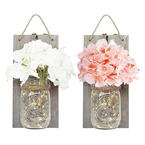 Ninite 2 Pack Mason Jar Sconces Battery Operated with 30 LED Fairy String Lights, Hydrangea Flowers and Grey Vintage Wooden Board, Hanging Light Crafts for Wall Decor, Home Decor, Outdoor Decor]()
