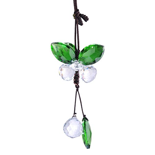 H&D Crystal Angel Butterfly Suncatcher Hanging Prism Rearview Mirror Charm Decor (Green) by H&D